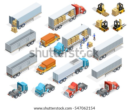Transportation isometric elements set with loaded and empty trucks trailers boxes forklifts and workers isolated vector illustration