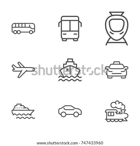 Transportation line icon collection