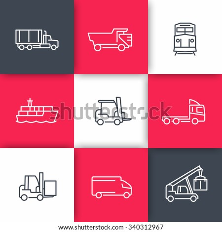 Transportation line icons, Cargo truck, Freight train, Forklift, vector illustration
