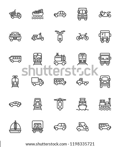 Transportation Line Vector Icons
