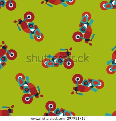 Transportation motorcycle flat icon,eps10 seamless pattern background