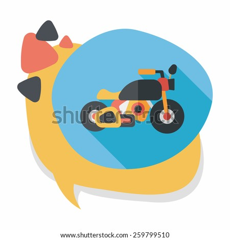 Transportation motorcycle flat icon with long shadow,eps10