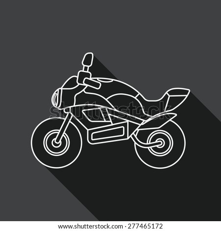 Transportation motorcycle flat icon with long shadow, line icon