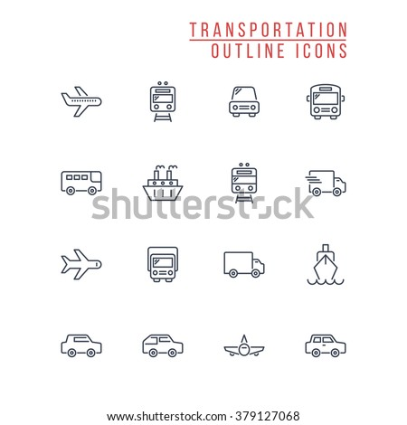 Transportation Outline Icons