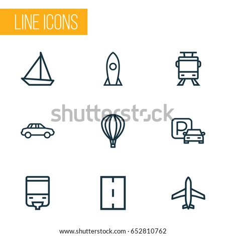Transportation Outline Icons Set. Collection Of Balloon, Aircraft, Sailing Ship And Other Elements. Also Includes Symbols Such As Craft, Ship, Aerostat.