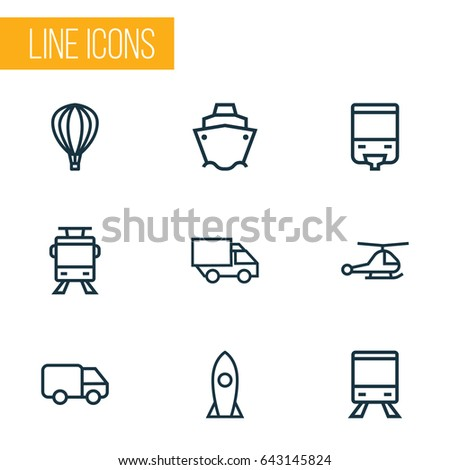 Transportation Outline Icons Set. Collection Of Rocket, Streetcar, Balloon And Other Elements. Also Includes Symbols Such As Tanker, Tram, Aerostat.