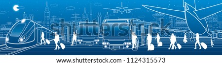 stock-vector-transportation-panorama-passengers-enter-and-exit-to-bus-people-get-on-train-aviation-travel