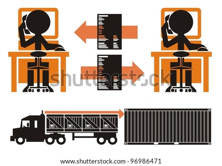 Transportation paperwork process, part 2 - cargo in crates being loaded from truck into a shipping container
