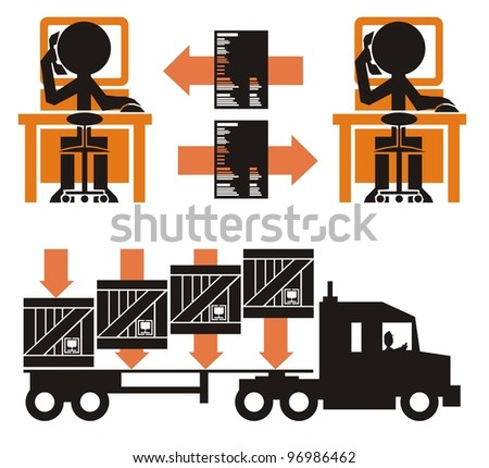 Transportation paperwork process, part 1 - cargo in crates being loaded on to a flat bed general truck trailer