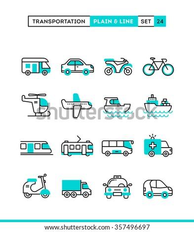 Transportation. Plain and line icons set, flat design, vector illustration