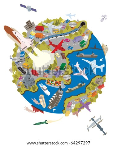 Transportation: Planet Earth is a busy place. Everybody is transporting something. No transparency and gradients used.