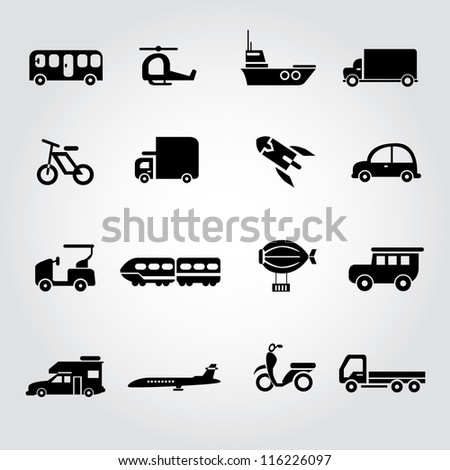 transportation set, icon set, car set