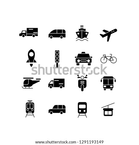 transportation set icon set with black color  vector  isolated illustration editable #1291193149