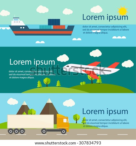 Transportation, shipment, cargo web banners set. Transportation by air, water, and truck transportation, vector illustration