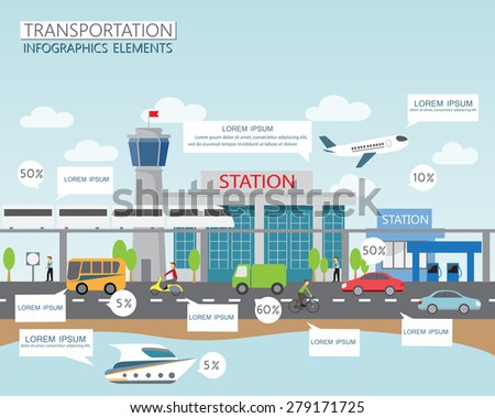 transportation, shipping and city traffic infographics element. can be used for workflow layout, diagram, web design, banner template. Vector illustration
