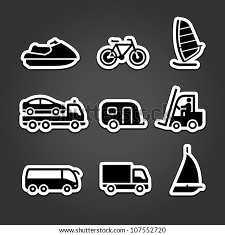 Transportation stickers set icons