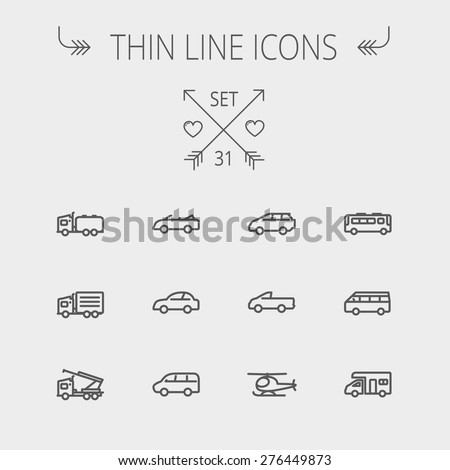 Transportation thin line icon set for web and mobile. Set includes- bus, cars, van, helicopter, camper van icons. Modern minimalistic flat design. Vector dark grey icon on light grey background.