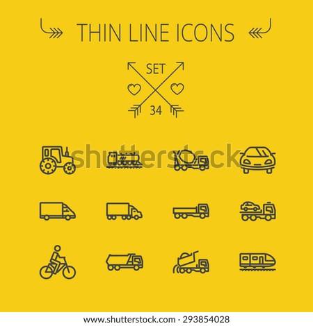 transportation thin line icon...