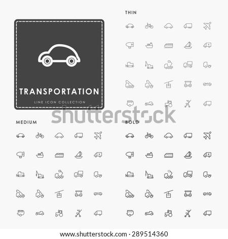 transportation thin, medium and bold line icons