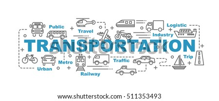transportation vector banner design concept, flat style with thin line art transportation icons on white background