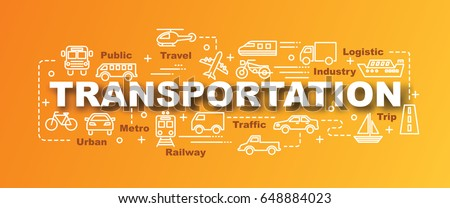 transportation vector trendy banner design concept, modern style with thin line art transportation icons on gradient colors background