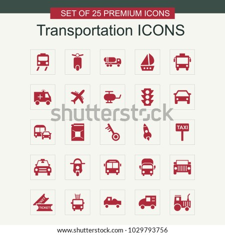Transportations icons set vector