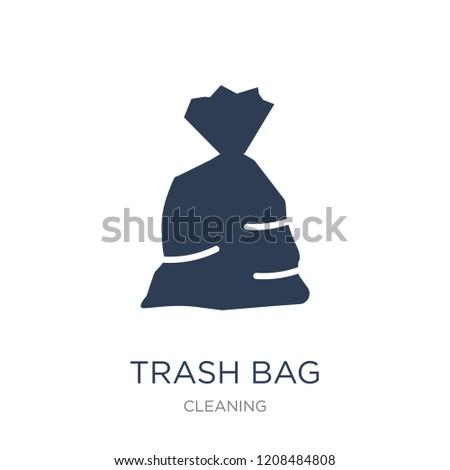 trash bag icon trendy flat