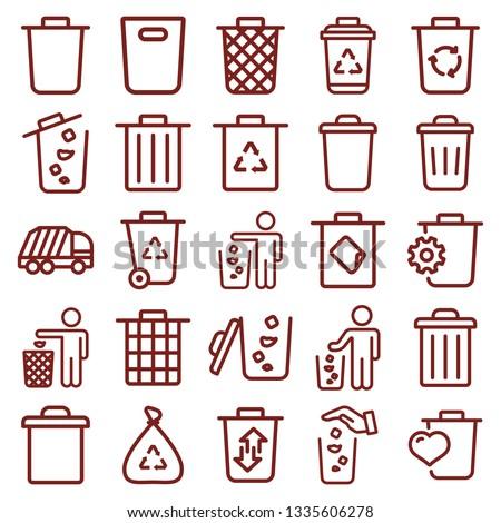 trash bin - minimal thin line web icon set. simple vector illustration outline. concept for infographic, website or app. Foto stock ©