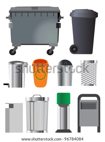 Trash can and container set