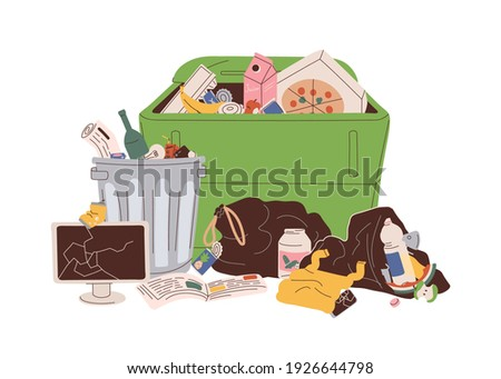 Trash can and dumpster with heap of mixed rubbish. Pile of household garbage lying around. Unsorted food, paper, plastic and electrical waste. Flat vector illustration isolated on white background Photo stock ©