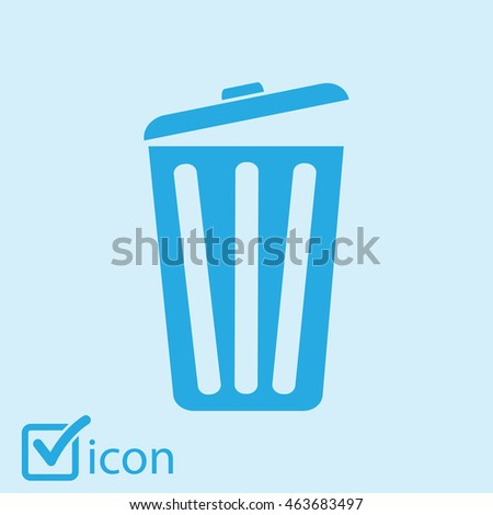 Trash can icon, vector eps10 illustration. Flat style.