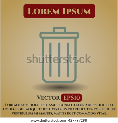 trash can icon vector symbol flat eps jpg app web concept