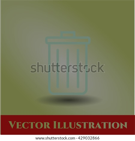 trash can icon vector symbol flat eps jpg app web concept