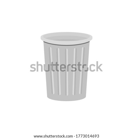 Trash can isolated on a white background. Vector illustration, color cartoon flat design, eps 10.