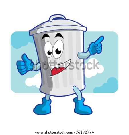 trash can mascot / character illustration vector