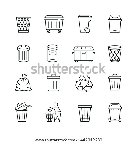 Trash can related icons: thin vector icon set, black and white kit Photo stock ©