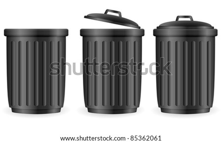 Trash can set on white background. Vector illustration.