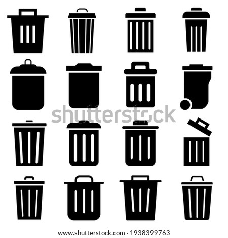 Trash can vector icon set. garbage illustration sign collection. basket symbol or logo.