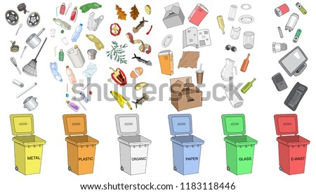 Trash cans with sorted garbage set. Different types of garbage: Organic, Plastic, Metal, Paper, Glass, E-waste. Vector hand draw collection of colorful trash bins. Concept of Recycles Day and ecology