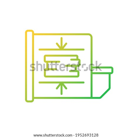 Trash compactor gradient linear vector icon. Mechanism for reducing material size. Processing waste material. Thin line color symbols. Modern style pictogram. Vector isolated outline drawing Foto stock ©