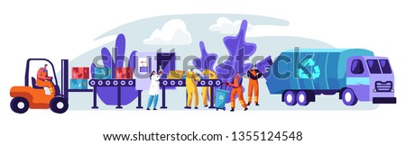 Trash Factory Banner. Recycling Process of Converting Industrial Waste into New Material and Object. Save Nature, Help Low Greenhouse Gas Emission and Recover Scrap. Flat Cartoon Vector Illustration