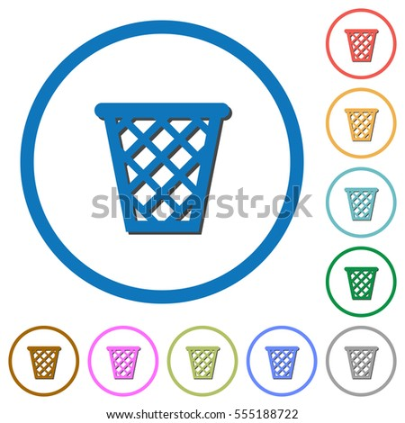 trash flat color vector icons