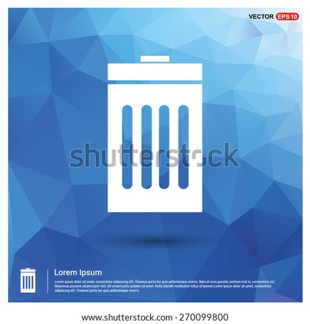 Trash icon. Blue geometric pattern, triangles background, polygonal design. Polygon geometric. Vector illustration