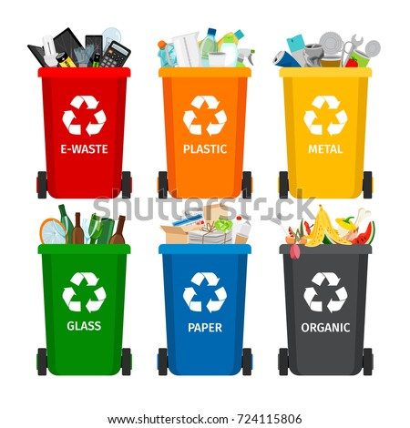 Trash in garbage cans with sorted garbage vector icons. Recycling garbage separation collection and recycled isolated on white background