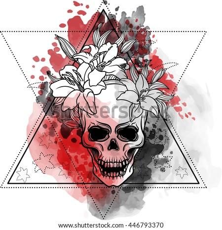 trash skull with blood splatter