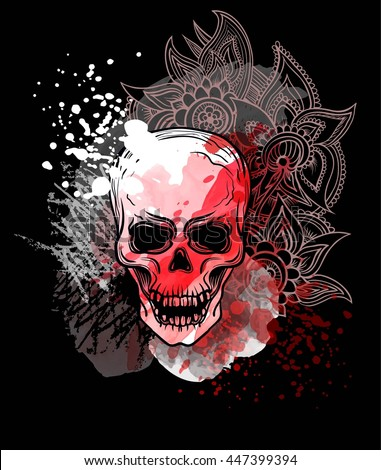 trash skull with blood splatter