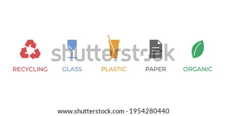 Trash sorting icons. Paper, glass, plastic and organic garbage colourful signs for recycling. Rubbish symbol set. Waste utilization icon collection. Vector illustration Photo stock ©
