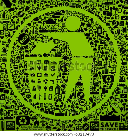 trash symbol made from little ecology icons - sustainable development concept