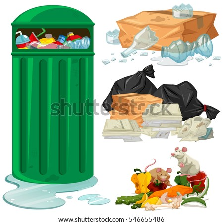 trashcan and different types of