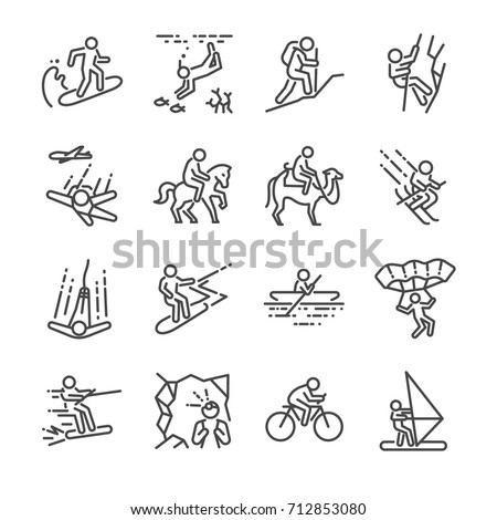 Travel activities line icon set. Included the icons as sailing, skiing, parachute , horse riding, biking, cycling and more.